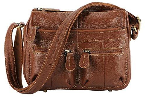 34288e976d71 ILISHOP Hot Sale Women s Leather Vintage Casual Double Use Multi Zipper  Pocket Crossbody Shoulder Bag Satchel Purse Handbag (Brown)