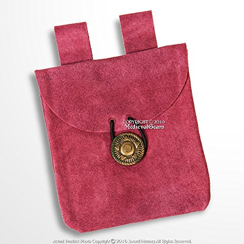 Medieval Gears Brand Medieval Pink Genuine Suede Leather Pouch Coin Bag LARP Cosplay