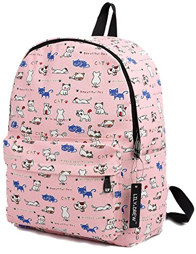 Lightweight Canvas Backpack for Women, Teens and Kids (Cat Pink Medium)