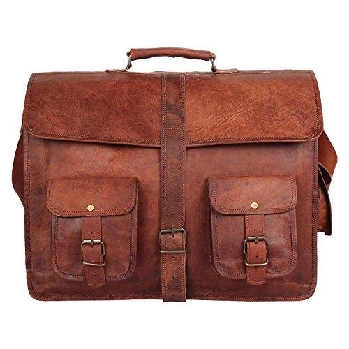 Leather Messenger Bag for Men Women Vintage Leather Laptop Bag Office Bag 408fb06658