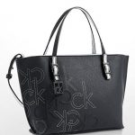 Calvin Klein Womens Hailey Embossed Logo Studio Tote Bag