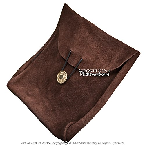Medieval Renaissance Pirate Fair Costume Suede Leather Pouch Satchel Bag LARP BR