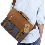 Langforth Genuine Leather Vintage 15.6″ Laptop Canvas Messenger Satchel Bag Grey