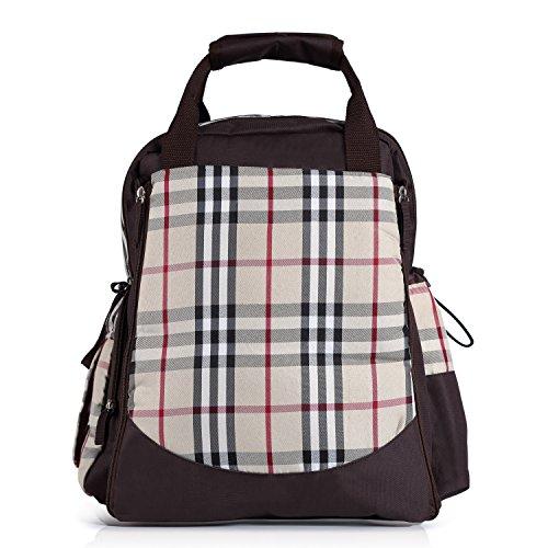 ZEFER Multifunctional Large Waterproof Baby Tote Diaper Bag Backpack Changing Organizer Brown