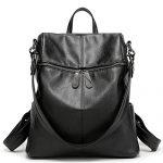 Women & Girls PU Leather Backpack Purse Fashion Casual Shoulder Bag (Black)