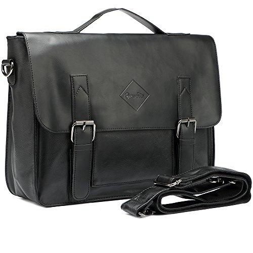 Men Vintage PU Leather Briefcase Laptop Shoulder Messenger Bag Zebella 1114014a55