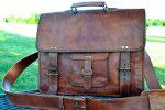 PL 16 Inch Vintage Leather Messenger Bag Briefcase / Fits upto 15.6 Inch Laptop