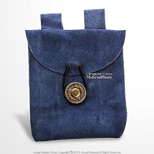 Medieval Gears Brand Blue Genuine Suede Leather Belt Pouch Satchel Bag Renaissance
