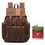 Hynes Eagle Vintage Canvas Leather Backpack Rucksack 19 Liter (Coffee)