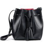 Kattee Women's Leather Bucket Crossbody Bag Tassel Drawstring Shoulder Bag