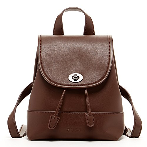 Susu Small Leather Backpack Purse For Women Bag Vintage Dark Brown Fashion Designer Handbags Buckle Style Rucksack Coffee Cute