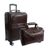 Amerileather Dark Brown Leather Rock-Print Two Piece Set on Spinner Wheels (#8602-5)