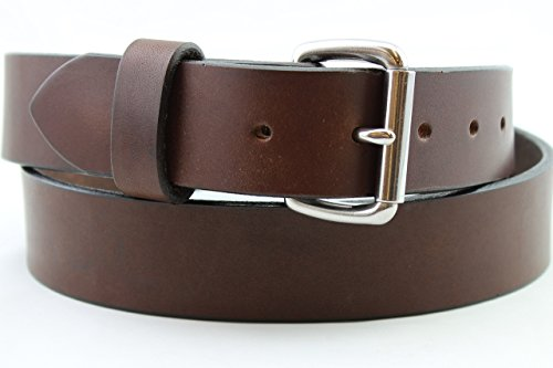 Heavy Duty Brown Stainless Men's Leather Belt Custom Gun Work Hand Made USA 1.25 and 1.5 Inch