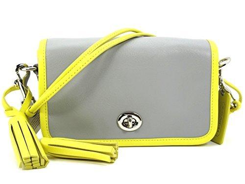 Coach Legacy Archival Leather Penny Shoulder Purse Crossbody 22406 Grey Lemon