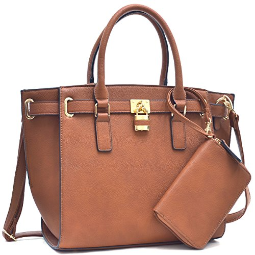 Dasein Women's Buffalo PU Leather Belted Padlock Satchel Handbag Tote Structured Bag With Coin Purse & Shoulder Strap