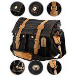 GEARONIC TM Men's Vintage Canvas Messenger Bag Shoulder and Leather Satchel School Military - Black