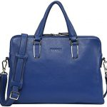 Banuce Unisex Genuine Leather Slim Briefcase Top-zip Laptop Bag