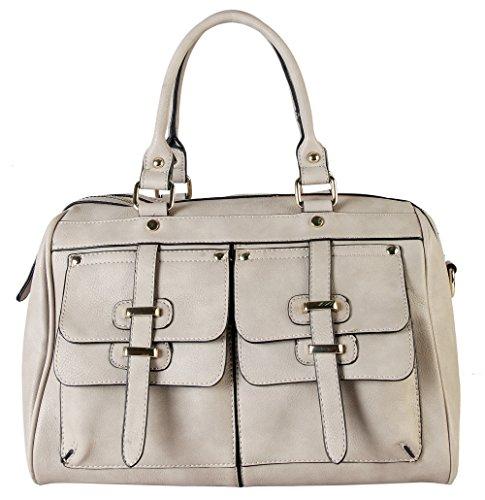 Rimen & Co. Double Front Pockets Two Top Handle Zipper Closure Casual Doctor Style Women Handbag Purse K30-2657 (Taupe)