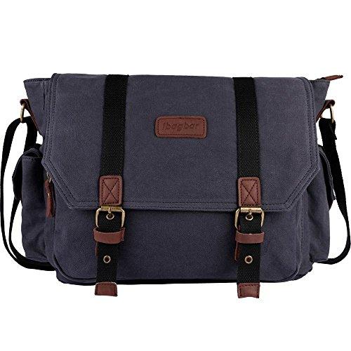 d533b961d9 ibagbar Men s Canvas Messenger Bag Laptop Bag Shoulder Bag Computer Bag  Satchel Bag Bookbag School Bag Working Bag College Bag Business Bag ipad Bag  Dark ...