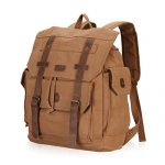 Hynes Eagle Mens Large Canvas Leather Travel Backpack Fits 15.6-Inch Laptop