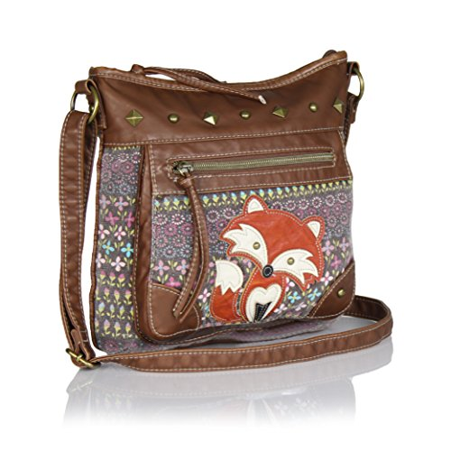 Vintage Flower Print Crossbody Bag With Fox Canvas Purse W/ Faux Leather Trim | Leather Bags