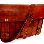 "Firu-Handmade 15"" Vintage Brown Leather Messenger Shoulder Laptop Bag Handmade"