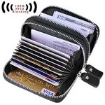 Fashion Credit Card Holder With RFID Blocking Genuine Leather Credit Card Case And Credit Card Wallet With Zipper