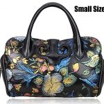 Pijushi Floral Collection Women's Genuine Leather Top Handle Handbag Tote Satchel Cross Body Bag with Adjustable Shoulder Strap Drop 91813 (Small Size Black Floral)