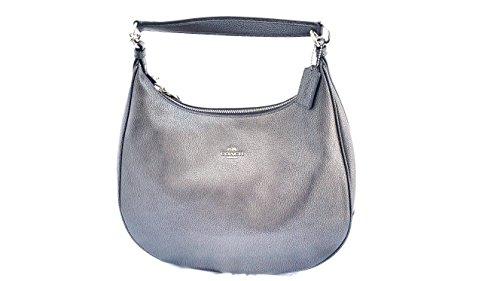 c49f33786a Coach Metallic Pebble Leather Harley Hobo Bag Satchel F56130  (Gunmetal Silver)