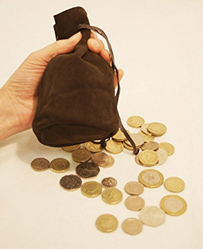 Medieval-Larp-SCA-Pagan-Steampunk-Gothic-Cosplay-Festival-Battle Ready-Battlefield-Drawstring Bag-Leather BROWN GAMING BAG