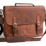 "Cuero 14 "" Black Vintage Leather Messenger Satchel Laptop Leather Briefcase Bag for Men and Women Genuine Buffalo Leather Vintage Laptop Messenger Bag"