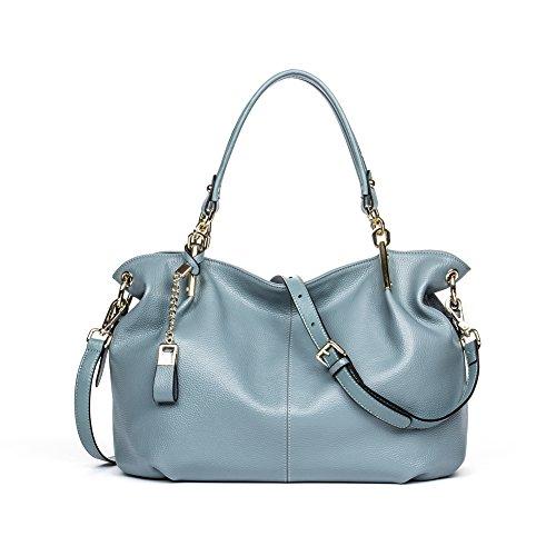 BOSTANTEN Leather Designer Handbags Satchel Tote Shoulder Cross Body Bags for Women Blue-grey