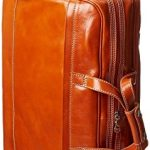 Floto Milano Trolley Large, Rolling Leather Duffel Bag in Orange