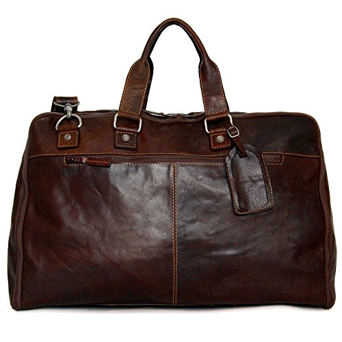 Jack Georges Voyager Convertible Valet Bag, Leather Duffel Bag in Brown