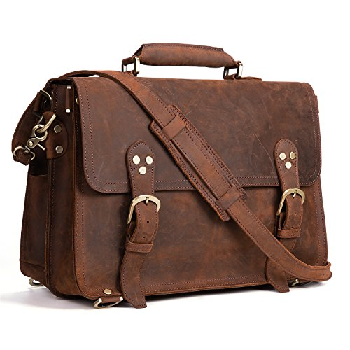 207954ceda Kattee XZ170-FBA 3-Way Men s Crazy Horse Leather Vintage Briefcase Travel  Backpack 15″ Laptop Shoulder Bag Handbag