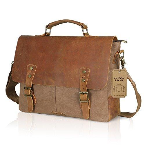 ... Lifewit Genuine Leather Vintage 15.6″ Laptop Canvas Messenger Satchel  Bag Coffee ... 3d998b391397a