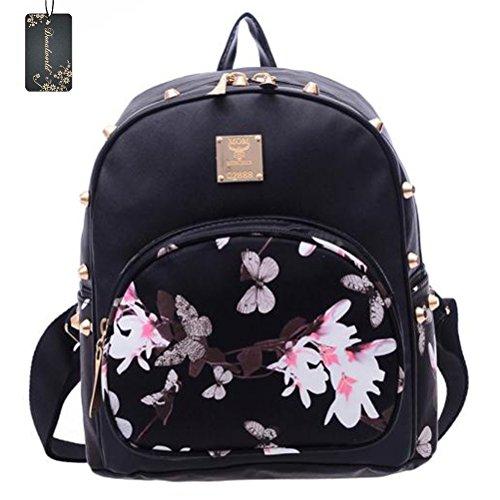 Donalworld Girl PU Leather Mini Backpack Floral Mini School