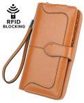 YALUXE Women's RFID Blocking Leather Wristlet Wallet Ladies Phone Clutch
