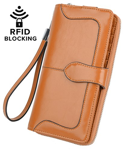 YALUXE Women's RFID Blocking Leather Wristlet Wallet Ladies Phone Clutch