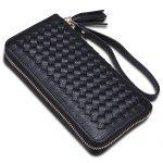 Women RFID Blocking Leather Tassel Wristlet Clutch Zipper Wallet with Strap for Checkbook/Phone/Credit Card [KARNI SOUL] ...