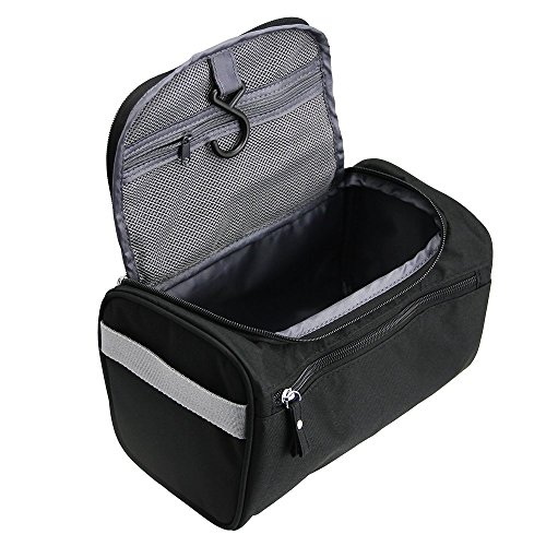 TravelMore Hanging Travel Toiletry Bag Organizer & Dopp Kit for Travel Accessories Toiletries Shaving & Makeup (Black)