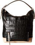 COACH Women's Bleecker Pinnacle Matte Croco Hobo Black Handbag