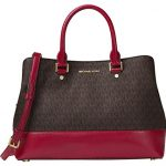 MICHAEL MICHAEL KORS Savannah Large Patent-Leather Satchel (Brown/Cherry)