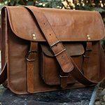 HLC Leather Unisex Real Leather Messenger Bag for Laptop Briefcase Satchel ...