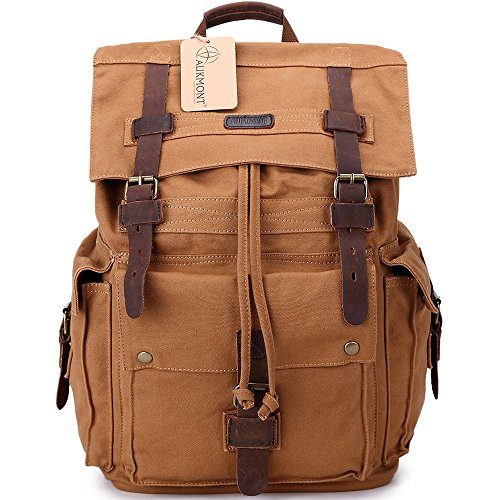 5a3b694646d6 Vintage Canvas Rucksack Leather Hiking Travel Backpack School Bag  1219  Eathy Yellow