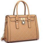 Dasein Fashion Women's Faux Leather Quilted Padlock Satchel Handbag Briefcase With Shoulder Strap (Studded, Tan)