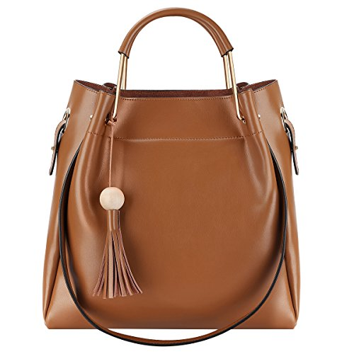 S-ZONE 3-Way Women Genuine Leather Top-handles Handbag Tote Bag with Long Shoulder Strap