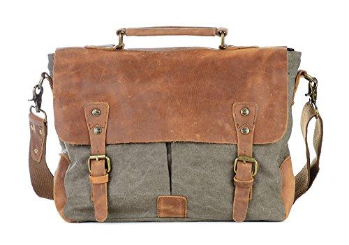 d93168f464 Gootium Canvas Messenger Bag Vintage Leather 14 Inch Laptop Shoulder Bag Men