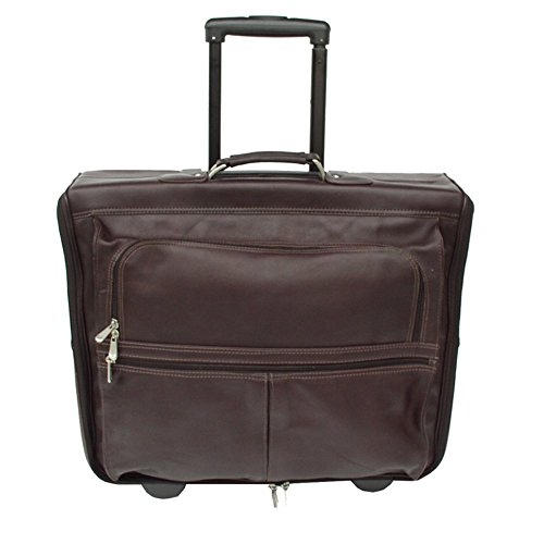 Piel Leather Garment Bag On Wheels, Chocolate, One Size