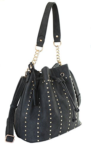 Siena Chic Studded Drawstring Bucket Shoudler Bag